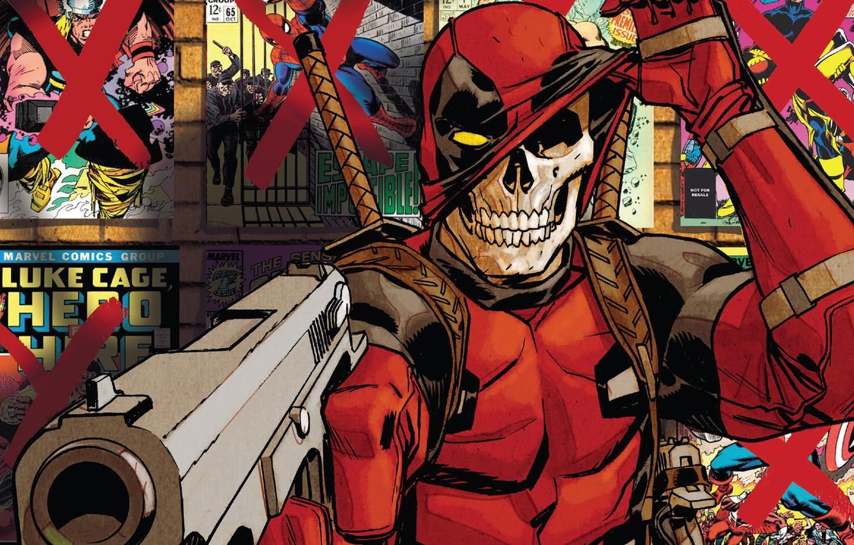 Фото обои skull, gun, fantasy, weapon, Deadpool, Marvel, comics, artwork, mask, costume, fantasy art, hood, antiheroes