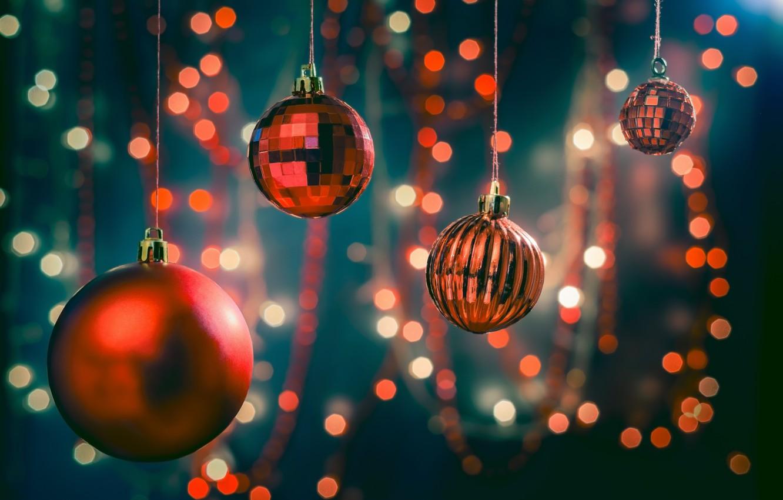 Фото обои украшения, шары, Рождество, Новый год, new year, Christmas, гирлянды, balls, decoration