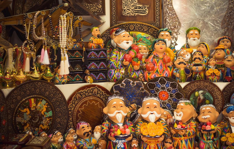 Фото обои east, uzbekistan, ornament, tashkent, old city, national shop, souvenirs, wooden goods, babaychik
