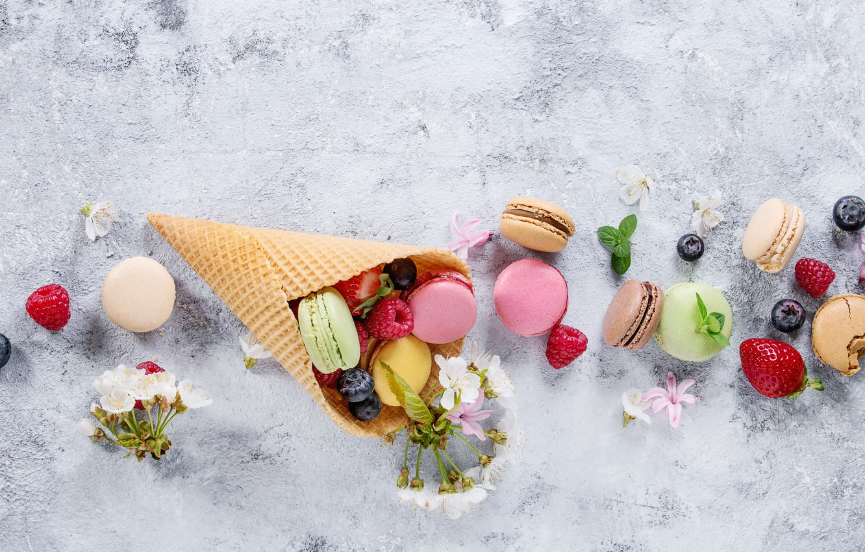 Фото обои ягоды, colorful, flowers, fruit, berries, macaroons, macaron, макаруны
