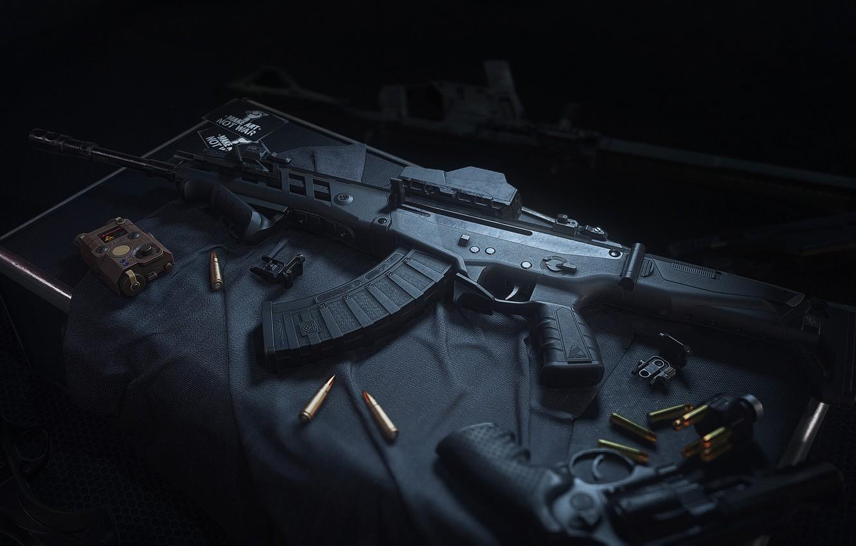 Фото обои рендеринг, пистолет, оружие, gun, pistol, weapon, render, глушитель, Калашников, штурмовая винтовка, assault Rifle, Model 327, …