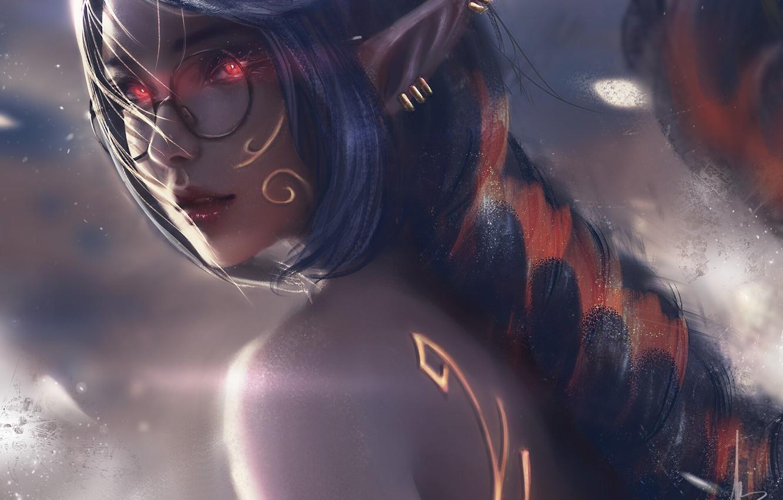 Фото обои туман, пирсинг, очки, эльфийка, красные глаза, длинные волосы, остроухая, вполоборота, elf girl, by Trung Bui