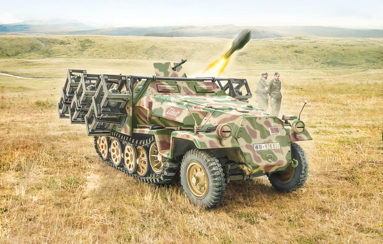 Фото обои war, art, tank, ww2, Sd. Kfz. 251