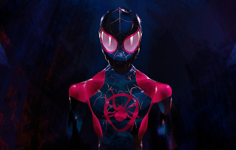 Фото обои Art, Marvel, Человек Паук, Miles Morales, Ultimate Spider-Man, Майлз Моралес, Spider Man:Into The Spider-Verse