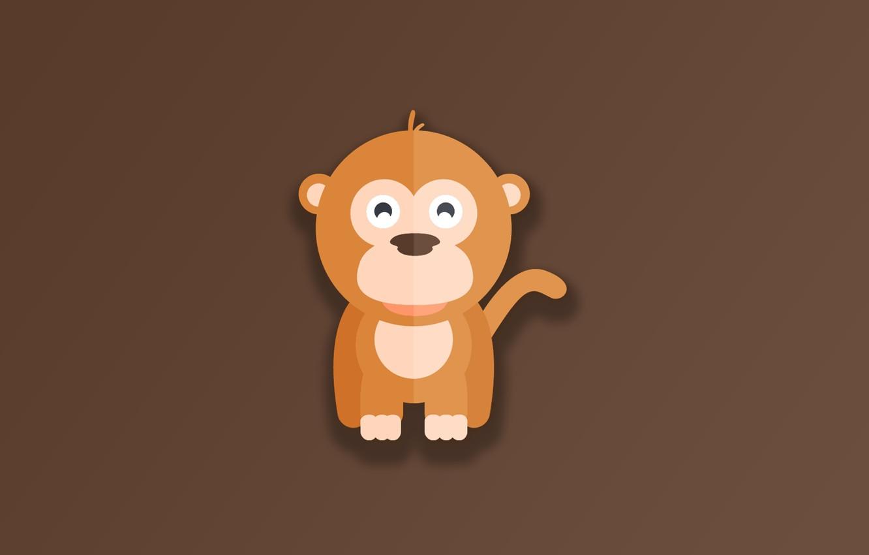 Фото обои monkey, minimalism, animal, funny, digital art, artwork, cute, simple background, Ape, brown background