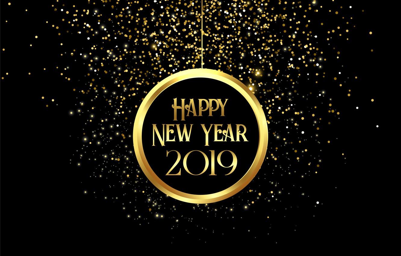 Фото обои золото, Новый Год, цифры, golden, черный фон, black, background, New Year, Happy, sparkle, glitter, 2019