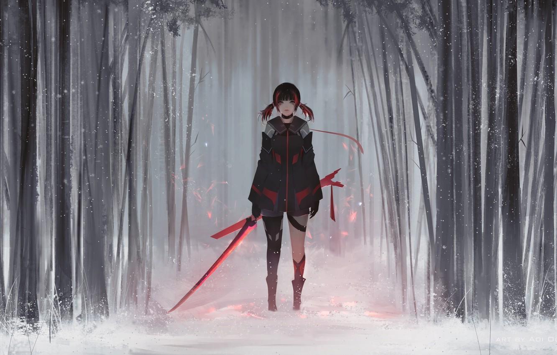 Фото обои Girl, Winter, Style, Snow, Fiction, Jun, Sword, Forest, Aoi Ogata
