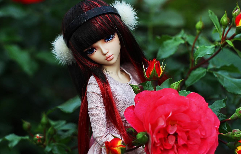 Обои цветы, Кукла, девушка, волосы. Разное foto 10