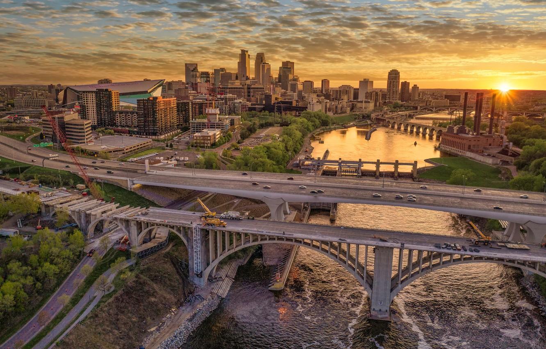 Фото обои закат, река, здания, дома, мосты, Миннесота, Minnesota, Minneapolis, Миннеаполис, Mississippi River, Река Миссисипи