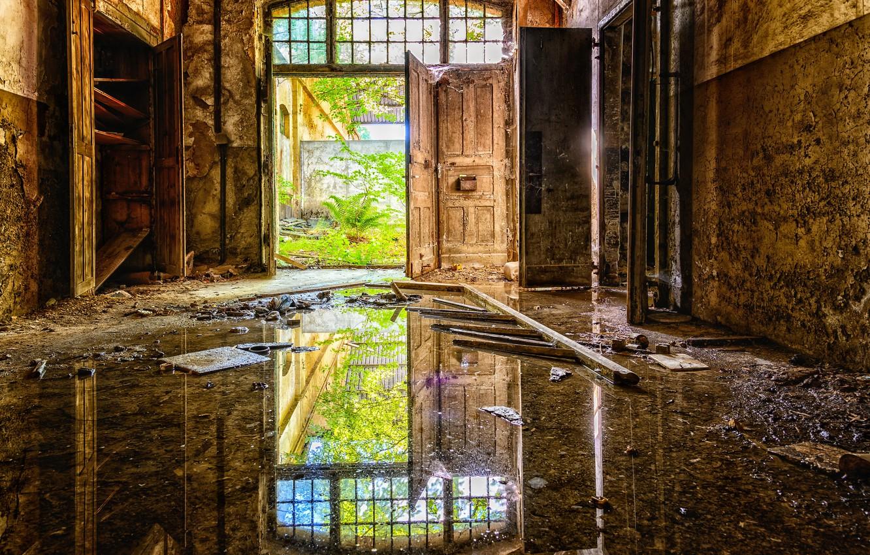 Фото обои безнадежность, интерьер, разруха, фабрика