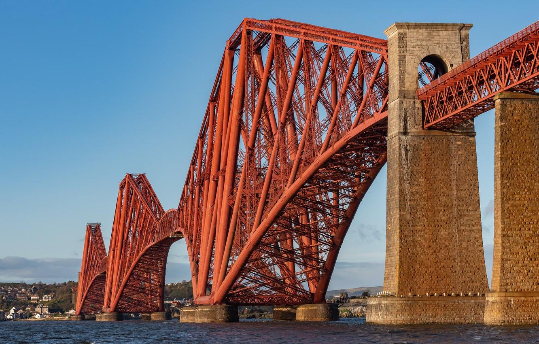 Фото обои мост, Шотландия, залив, Scotland, Forth Bridge, Форт-Бридж, Залив Ферт-оф-Форт, Firth of Forth