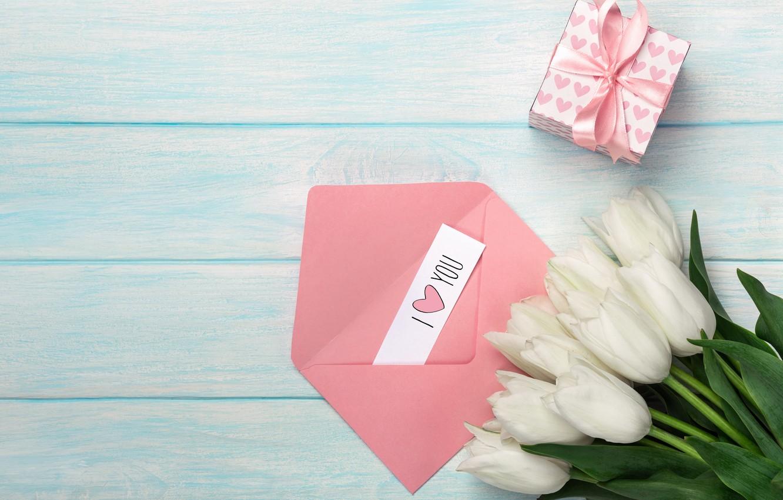 Фото обои коробка, подарок, надпись, тюльпаны, конверт, День матери