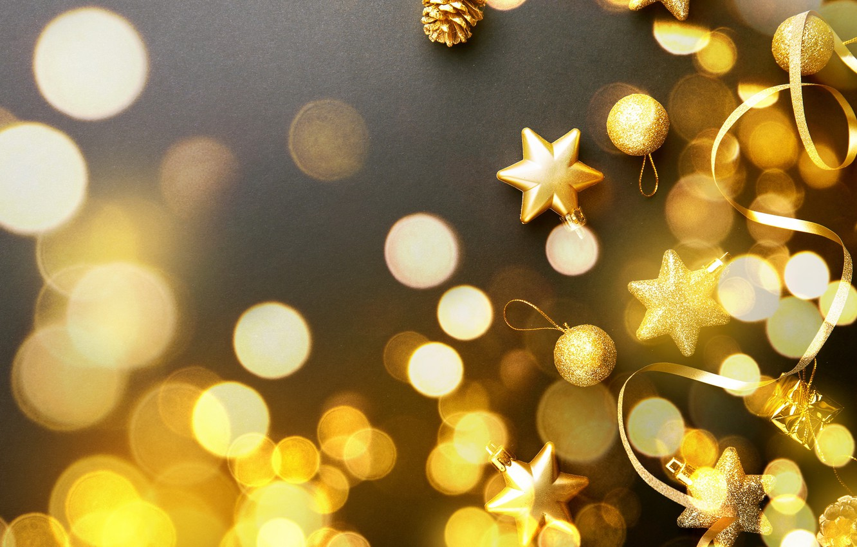 Фото обои украшения, шары, Новый Год, Рождество, golden, черный фон, black, Christmas, balls, золотые, bokeh, New Year, …