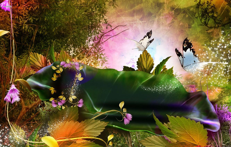 Фото обои листья, бабочки, цветы, абстракция, пыльца, летняя фантазия
