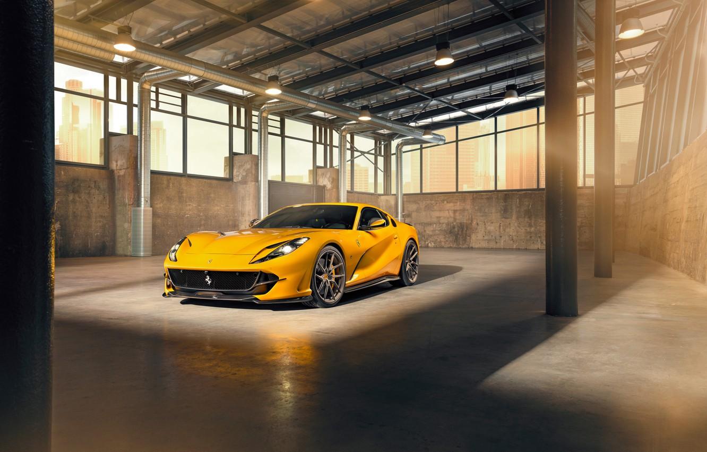 Фото обои машина, свет, жёлтый, лампы, окна, Ferrari, стильный, спортивный, Superfast, 812, by Novitec
