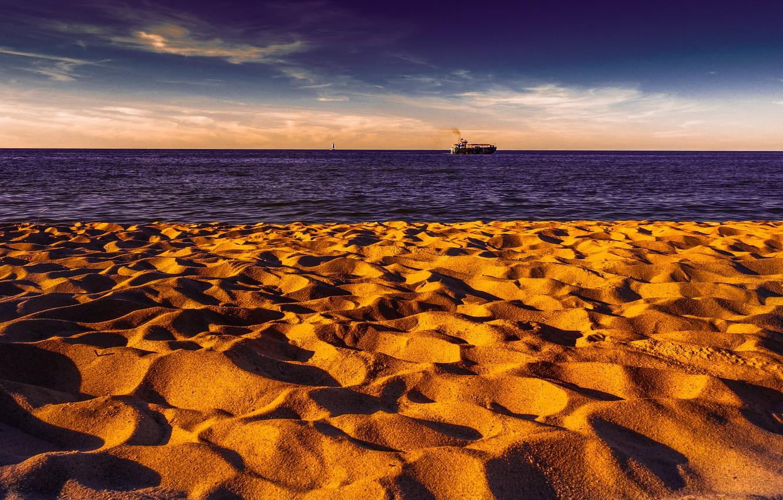Фото обои море, берег, корабль