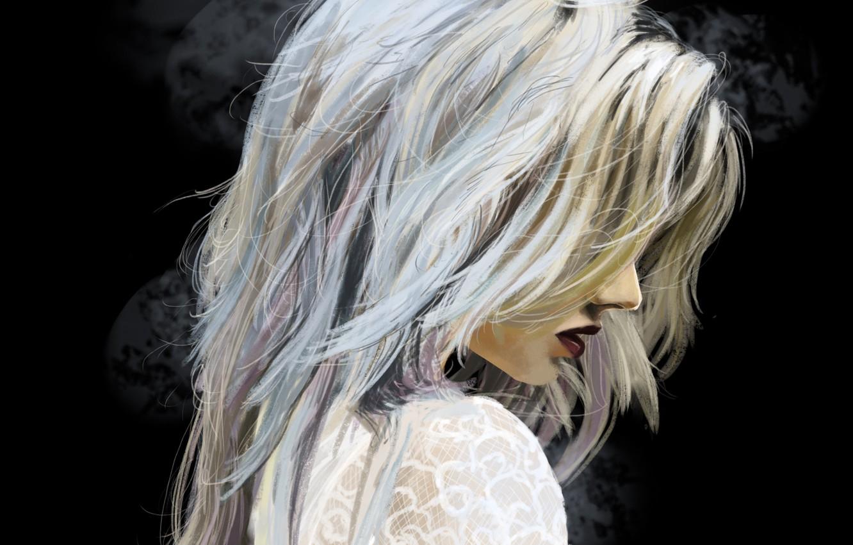 Фото обои девушка, волосы, арт, блондинка, губы, профиль, черный фон