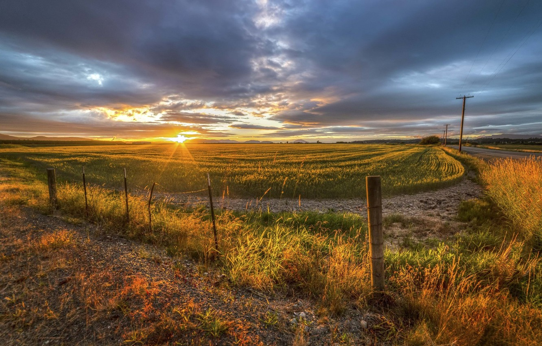 Фото обои поле, пейзаж, закат, природа, красота, nature