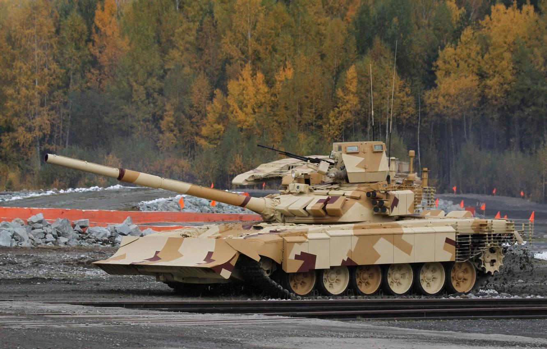 Фото обои полигон, T-72, демонстрация, Танк РФ, решетчатые экраны, модульная динамическая защита, с отвалом бульдозера