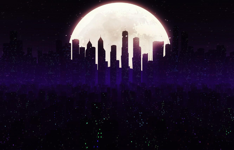 Фото обои Ночь, Город, Луна, Стиль, Небоскребы, Здания, City, Moon, Архитектура, Небоскрёб, Style, Небоскрёбы, Небоскреб, Illustration, Winter …