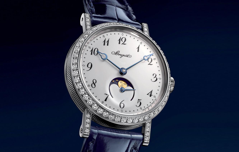Фото обои время, стиль, часы, стразы, циферблат, синий фон, швейцарские наручные часы, женские часы Брегет, фазы Луны, …