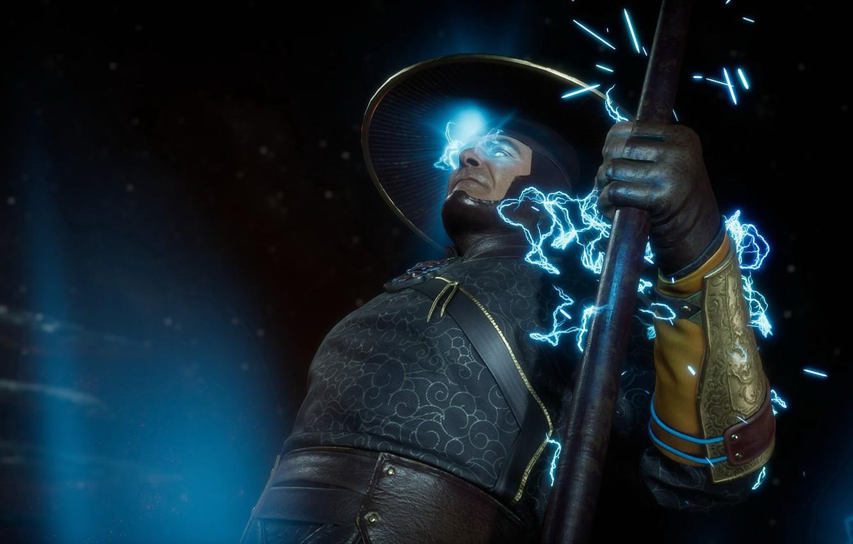 Фото обои молнии, искры, посох, lightning, Raiden, staff, god of thunder, Mortal Kombat 11, MK 11, Смертельная …
