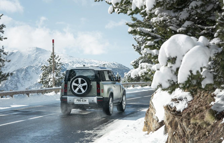 Фото обои снег, Land Rover, snow, Defender, Land Rover Defender, Land Rover Defender 90 D240 SE, 90 …