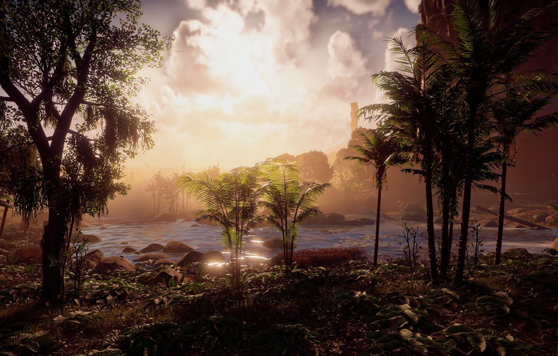 Фото обои пейзаж, река, джунгли, эксклюзив, Playstation 4, Guerrilla Games, Horizon Zero Dawn