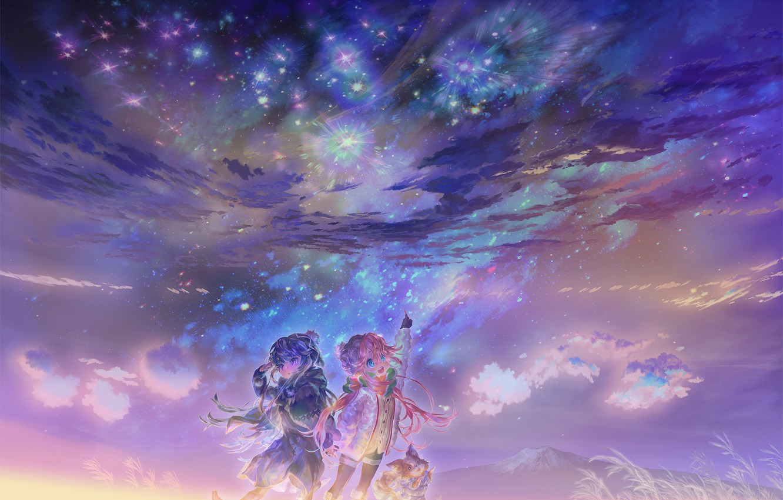 Фото обои аниме, арт, (王晖) Melissa Hui Wang, Yuru Camp | Rin + Nadeshiko + Chikuwa