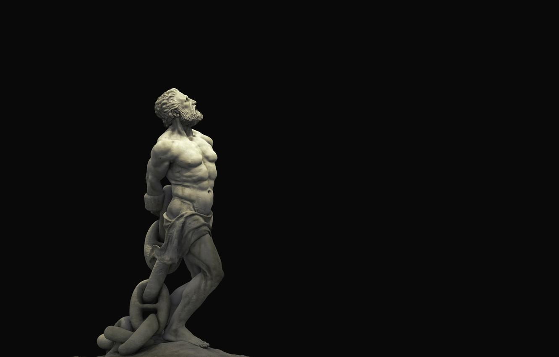 Фото обои статуя, скульптура, черный фон, философия, black background, statue, sculpture, chained, philosophy, unbroken, закованный в цепи, …