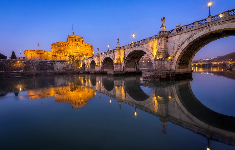 Фото обои мост, огни, река, вечер, Рим, Италия, Тибр, Ponte Sant'Angelo
