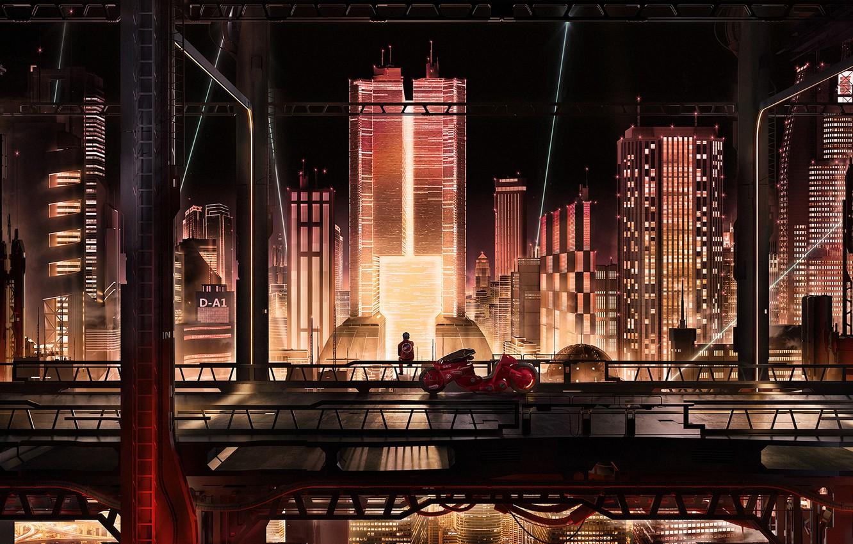 Фото обои City, Bike, Акира, Akira, Cyberpunk
