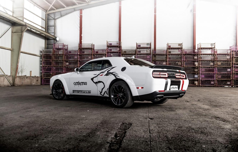 Фото обои белый, сзади, Dodge, Challenger, сбоку, GeigerCars, 2019, SRT Hellcat Cerberus