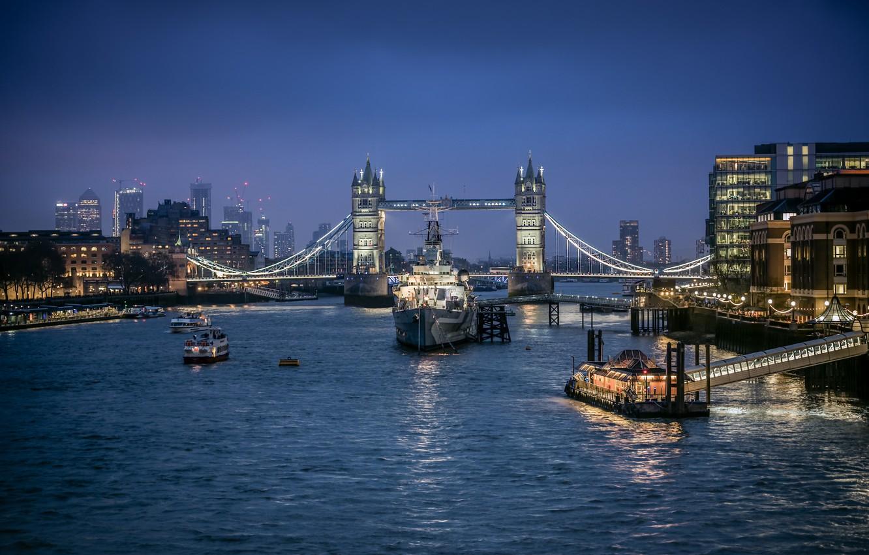 Фото обои мост, огни, река, Англия, Лондон, корабли, Темза, Tower bridge
