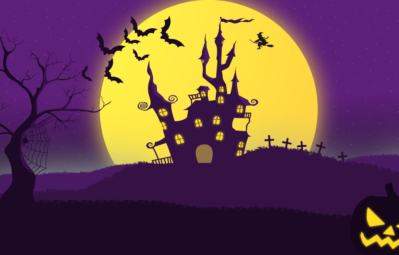 Фото обои поле, туман, могилы, крест, паутина, паук, тыква, ведьма, летучие мыши, хэллоуин, тыква джек, страшное здание, …