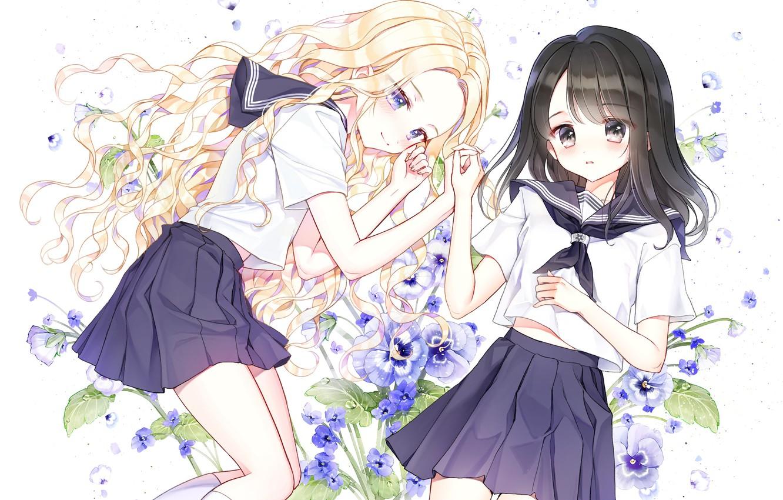 Фото обои цветы, девочки, аниме