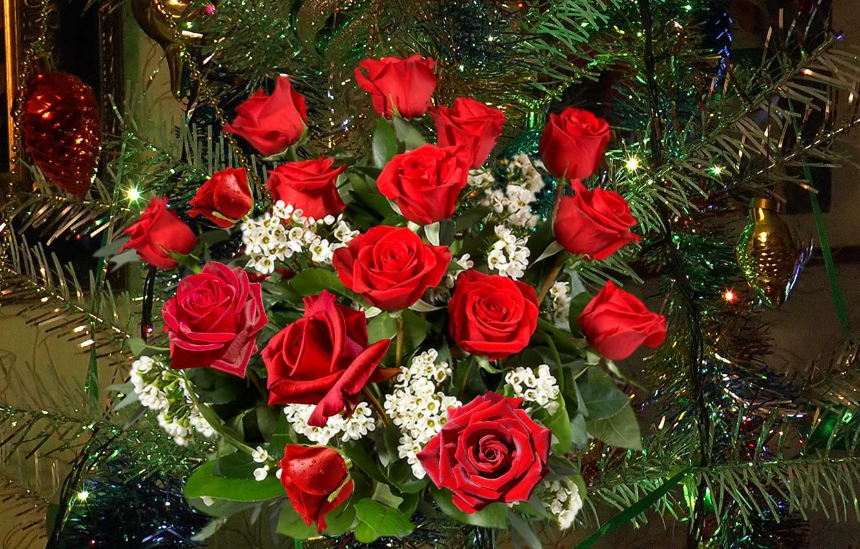 Фото обои розы, букет, Новый год, ёлка