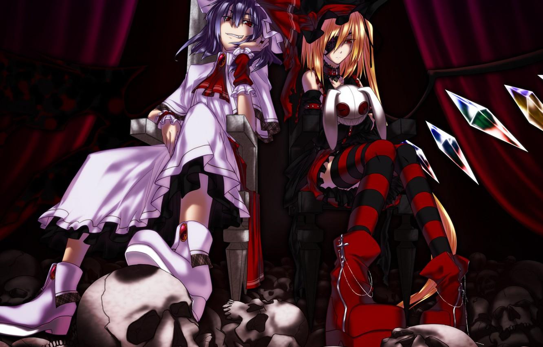 Фото обои черепа, трон, повязка на глаз, в темноте, Touhou Project, Remilia Scarlet, Flandre Scarlet, адская ухмылка, …
