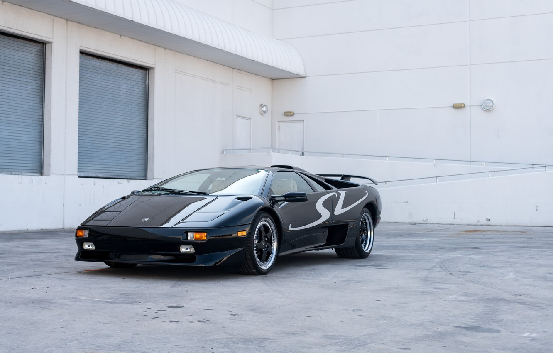 Фото обои Black, Supercar, Super Veloce, 1998 Lamborghini Diablo SV