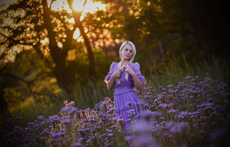 Фото обои лето, девушка, природа
