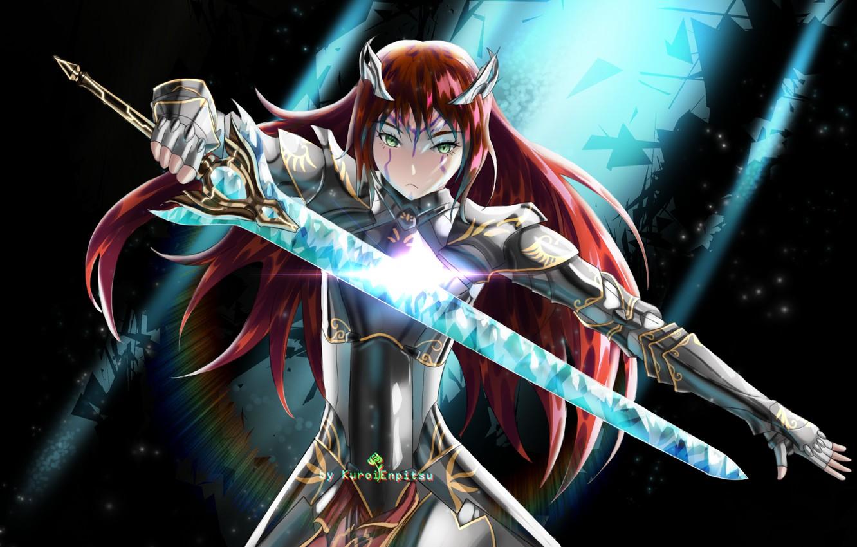 Фото обои девушка, меч, доспехи, рыцарь