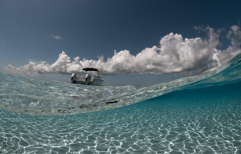 Фото обои море, волны, блики, катер, waves, sea, glare, boat, Jennifer Lu