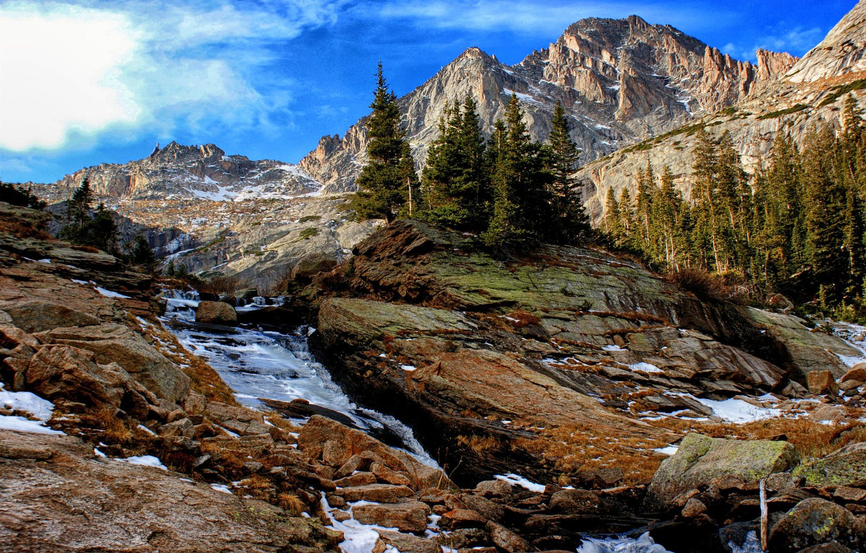 Фото обои деревья, пейзаж, горы, природа, водопад, ели, Йосемити, национальный парк, заповедник