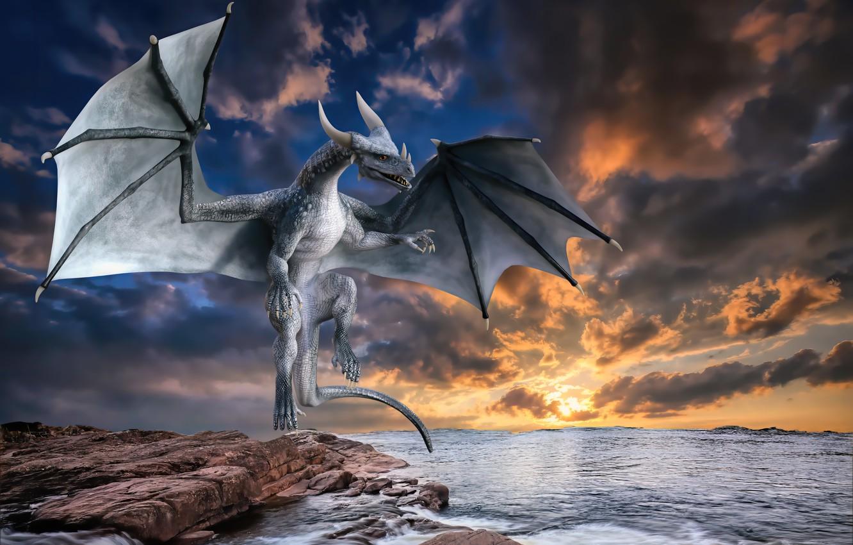 Фото обои море, вода, облака, закат, дракон, рога, horns, sea, sunset, water, clouds, dragon, fantasy art, фэнтези …
