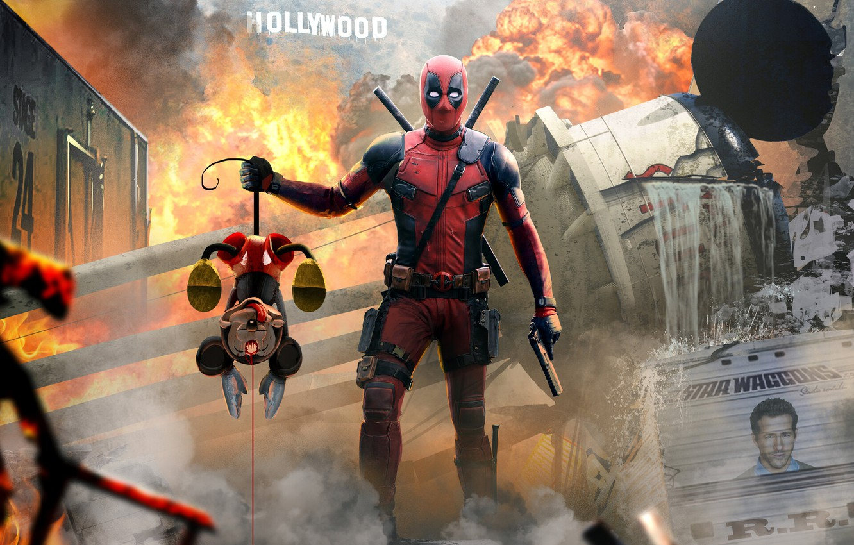 Обои пистолет, маска, Deadpool. Фантастика foto 13
