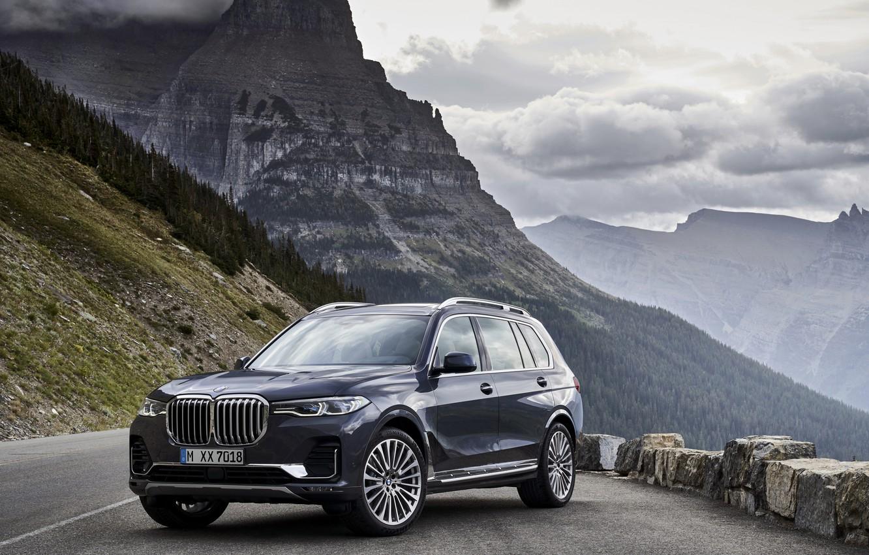 Фото обои вид, BMW, склон, горная дорога, 2018, кроссовер, SUV, 2019, BMW X7, X7, G07