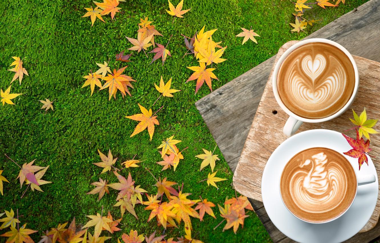 Фото обои осень, трава, листья, кофе, colorful, чашка, wood, autumn, leaves, cup, coffee, осенние, maple, latte