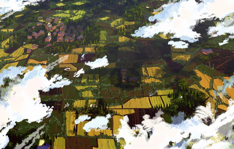 Фото обои Облака, Поле, Город, Вид, Деревня, Земля, City, Поля, Clouds, Art, Вид сверху, View, Land, Village, …