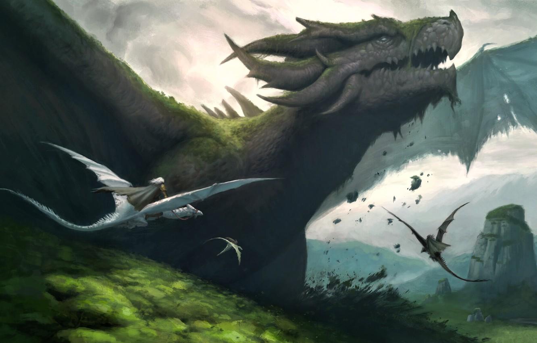 Фото обои fantasy, horns, landscape, nature, wings, digital art, artwork, fantasy art, creature, Dragons