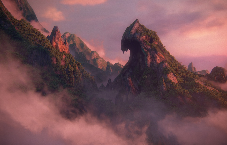 Фото обои облака, закат, скала, Naughty Dog, Playstation 4, Uncharted 4: A Thief's End